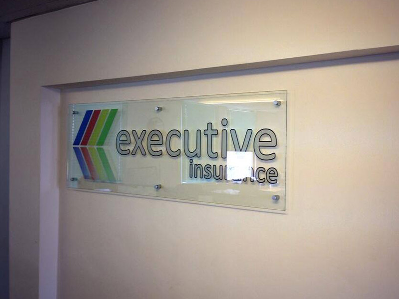 interior glass office signage