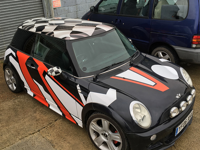 mini cooper roof wrap finished